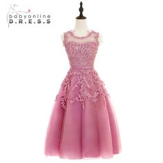 2017 Dust Pink Beaded Lace Appliques Short Prom Dresses Robe De Soiree Knee Length Party Evening Dress ($48.58)