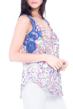 Beautiful pastel print sleeveless blouse with blue lace accent looks great paired with white or denim. Print Sleeveless Blouse by Atina Cristina. Clothing - Tops - Sleeveless Montana