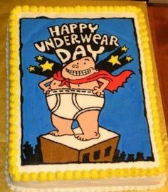Captain Underpants cake for my son, using the frozen buttercream transfer technique from cakecentral.com.