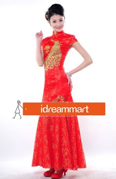 XFLC Red Satin Peacock & Peony Embroidery Chinese Long Wedding Dress - iDreammart.com
