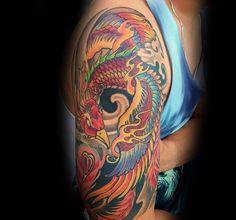 Mens Flaming Phoenix Japanese Half Sleeve Tattoo