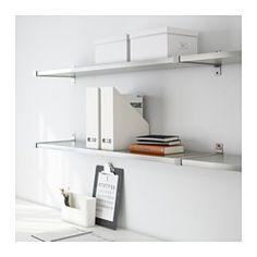 "IKEA - EKBY MOSSBY / EKBY BJÄRNUM, Wall shelf, with brackets that cover the edge of the shelf  94 1/8"" x 11""d (two shelves plus brackets) $75.98."