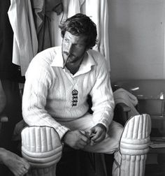 1981... Ian Botham of England smokes a cigar before his match winning 149 not out during the third Test Match against Australia at Headingley in Leeds. England won the match by 18 runs.  Fully fledged hero of a man.
