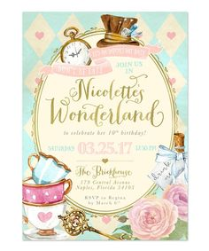 Alice in Wonderland: Girl's Birthday Party Invitation