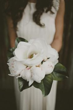 Peonies and magnolia bouqet