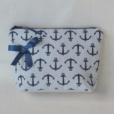 Pochette maquillage, trousse accessoire de sac, de voyage, de toilette,  tissu marin ancre, cadeau femme saint valentin 8574cce4f44a
