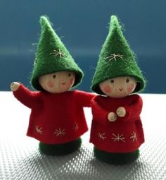 Christmas Elf+ Bendy Doll + Ornaments + Fairy Doll Elves + Hand Made Doll + HalfMagicDolls + Half Ma Felt Christmas Decorations, Christmas Ornament Crafts, Felt Ornaments, Christmas Elf, Christmas Projects, Felt Crafts, Holiday Crafts, Wood Peg Dolls, Clothespin Dolls