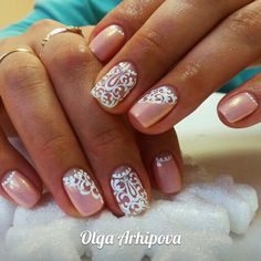 Beautiful delicate nails, Ideas of gentle nails, Lace nails, Lacy nails, Nacre… Lace Nail Design, Lace Nail Art, Lace Nails, Stiletto Nails, Nails Yellow, Pale Pink Nails, Nail Art Design Gallery, Best Nail Art Designs, Pretty Nails