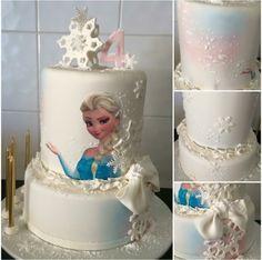 Frozen Inspired Snowflake Bow Elsa Fondant Birthday Cake