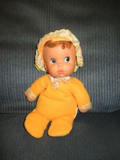 Vintage Bare Bottom Bean Doll Mattel Orange Baby 1974