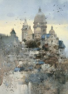 Watercolor City, Watercolor Landscape Paintings, Watercolor Artists, Watercolor Illustration, Watercolor Ideas, Beauty In Art, Snow Scenes, Art Academy, Painting Gallery