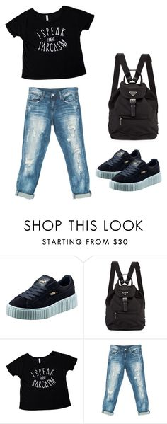 """Cool Chic #8"" by ella178 ❤ liked on Polyvore featuring Puma, Sans Souci, boyfriendjeans, Graphic, Tee and sneakers"