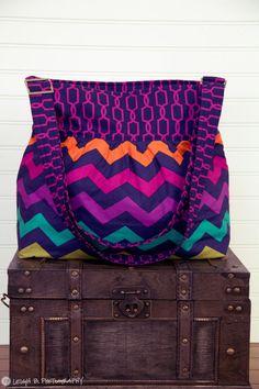 Purple Chevron Large Diaper Bag Stroller Bag by PreciousLittleTot, $105.99