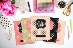 Printable Binder Inserts - Set of 5 - Personalized Monogram Binder Cover and Spine Text (8.5x11in) - Instant Download by ThePreppyGreek on Etsy https://www.etsy.com/listing/154459938/printable-binder-inserts-set-of-5