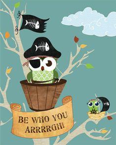 Owl Poster, Illustration, Pirate Owls Bedroom Decor, Blue Kids Art Print, Blue Owl Pirate Bedroom Art Print, 11x14 Pirates & Owls Poster