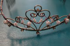 Heart Pearl Beaded Pink Wire Tiara by StephaniesGifts17 on Etsy