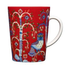 """iittala Taika Red Mug Enjoy a cup of coffee or a hot chocolate in the iittala Taika Red Mug. Meaning """"Magic"""" in Finnish, the Taika pattern by Klaus Haapaniemi features fanciful foxes and ornate owls inhabiting a mysterious . Nordic Design, Scandinavian Design, Feng Shui, Hot Spiced Cider, Salon Shabby Chic, Red Mug, Joss And Main, Decorative Items, Tableware"""