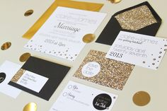 Gold glitter wedding stationery 'Glitterfetti' Not a fan of the black but that save the date is AMAZING.