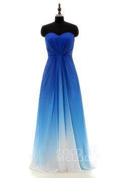 Charming+Sweetheart+Natural+Floor+Length+Chiffon+Grandient+Royal+Blue+Sleeveless+Bridesmaid+Dress+Pleating+LOZF15045