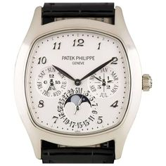 Patek Philippe White Gold Perpetual Calendar Moonphase automatic Wristwatch  | From a unique collection of vintage wrist watches at https://www.1stdibs.com/jewelry/watches/wrist-watches/