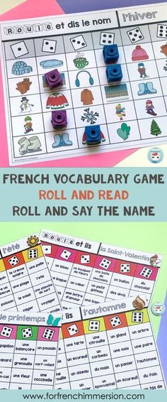 French Vocabulary Game: Seasonal - For French Immersion French Games For Kids, Learning French For Kids, French Language Learning, Teaching French, Teaching Spanish, French Flashcards, French Worksheets, Vocabulary Strategies, Vocabulary Games