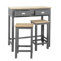 Table à manger haute et 2 tabourets gris L90 | Maisons du Monde