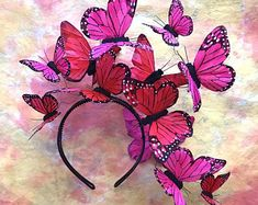 Galaktische rosa Schmetterling Tiara Kopfschmuck Kopfschmuck - Karneval - Painting Tips Floral Fascinators, Wedding Fascinators, Wedding Hats, Black Fascinator, Fascinator Headband, Halo Headband, Wide Headband, Black Velvet, Papillon Rose