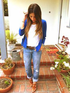blue blazer, boyfriend jeans.