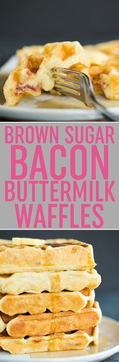 Brown Sugar-Bacon Buttermilk Waffles :: These waffles are light and fluffy, and include bits of brown sugar-glazed bacon in the batter. Breakfast of champions!