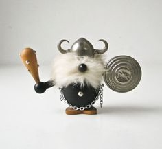 Wood Viking - Fur Beard - Metal Hat - Metal Shield