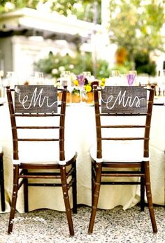 Mr. And Mrs. Wooden Chair Signs // Photo Props - Rustic Weddings (wd-9)