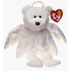 """White 9"""" Bear Angel Halo Polar Ty Collectible Beanie Babies Collection"""