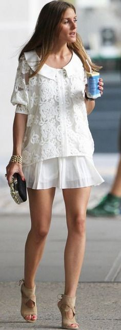 #spring #fashion   Lace and Pleats White + Camel Shoes   Olivia Palermo                                                                             Source