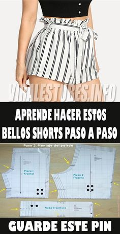 Fascinante curso gratis de costura: Aprende hacer shorts de mujer con patrones paso a paso - Jelly Tutorial and Ideas Make Your Own Clothes, Diy Clothes, Clothes For Women, Striped Shorts, Patterned Shorts, Sewing Shorts, Sewing Hacks, Sewing Tips, Sewing Tutorials