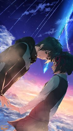 Your Name Wallpaper, Anime Wallpaper Live, Anime Scenery Wallpaper, Anime Backgrounds Wallpapers, Animes Wallpapers, Anime Love Couple, Cute Anime Couples, Film Animation Japonais, Mitsuha And Taki