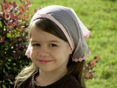 Little Girls Pink Veil with TieBacks by RobinNestLane on Etsy, $12.00  www.catholicchapelveils.com