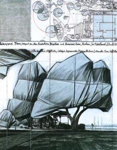 "Christo Jeanne-Claude ""Drawings just as interesting as the final works"" KB Christo Y Jeanne Claude, Bulgaria, Winter In Japan, Environmental Art, Art And Architecture, Installation Art, Giza, Stonehenge, Art Museum"
