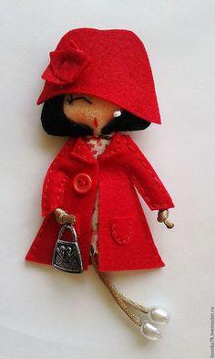 Броши ручной работы. Ярмарка Мастеров - ручная работа. Купить Брошь-куколка из фетра. Handmade. Разноцветный, брошь, брошка-куколка
