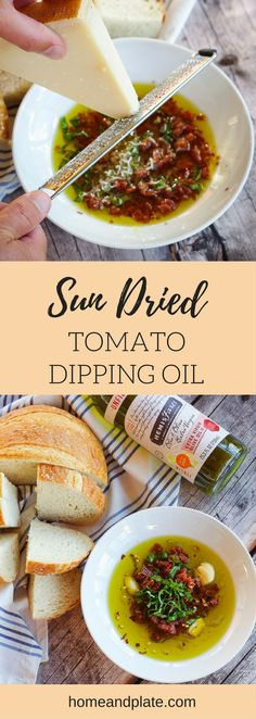 #ad | Sun Dried Tomato Dipping Oil | www.homeplate.com | Dip your crusty bakery bread loaf in true Italian flavor with this easy to make sun-dried tomato dipping oil.