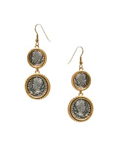 Bill Skinner Emperor Coin Drop Earrings