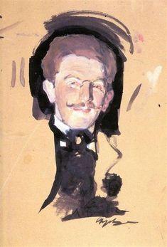 Portrait of Leo Bakst by Valentin Serov. Impressionism. sketch and study