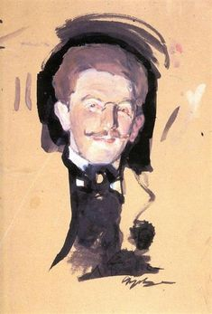 Portrait of Leo Bakst by Valentin Serov. Impressionism. sketch and study