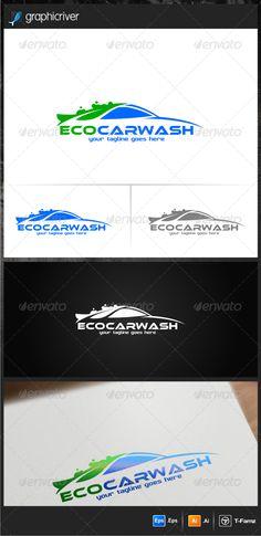 Eco Car Wash Logo Templates — Vector EPS #wash logo #logo design • Available here → https://graphicriver.net/item/eco-car-wash-logo-templates/6995958?ref=pxcr