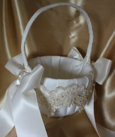 Cream Satin Flower Girl Basket with Champagne by UniquelyYouBridal
