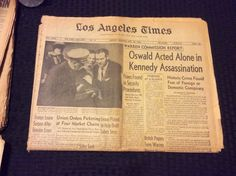 VINTAGE NEWSPAPER HEADLINE~CRIME PRESIDENT KENNEDY JFK ASSASSINATION OSWALD DEAD  | eBay