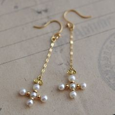 Pearl Cross & Chain Earrings