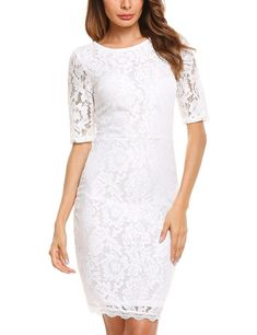 Hotouch Women Elegant Full Floral Lace Half Sleeve Cocktail Bodycon Party Dress at Women's Clothing store: Slim Fit Dresses, Casual Dresses For Women, Clothes For Women, Modest White Dress, Lace Dress, Bodycon Dress Parties, Party Dress, All Fashion, Dress Fashion