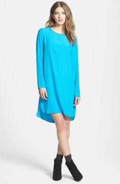 Wayf Long Sleeve Crepe Shift Dress | Nordstrom