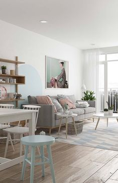 Large living room in pastel colors Pastel Shades, Light Shades, Pastel Colors, Pantone, Bic Kids, Kitchens And Bedrooms, Grey Curtains, Minimalist Decor, Colored Pencils