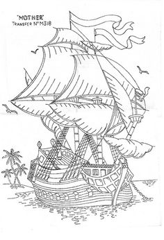 realistic traditional sailing ship difficult coloring pages Free Coloring, Adult Coloring Pages, Coloring Sheets, Coloring Book Pages, Printable Coloring Pages, Cross Stitch Embroidery, Embroidery Patterns, Wood Carving Patterns, Digital Stamps